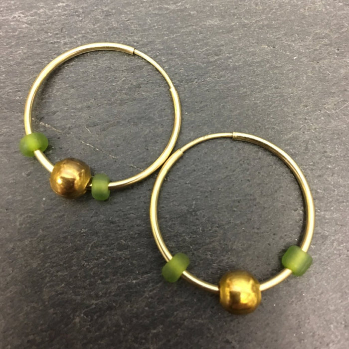 Gold hoops, creole hoops, Gold hoops & beads, Gold hoops and tourmalines. Badgers velvet