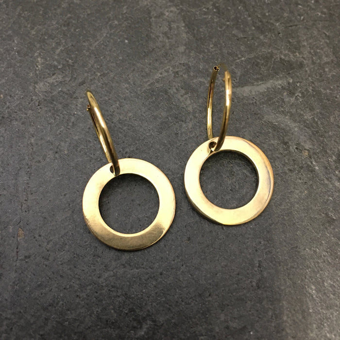 Gold disc earring, sleepers, stylish earring, gold earring, badger's velvet