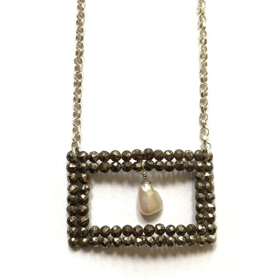 Georgian Cut Steel Square Eye Buckle and Pearl Silver Necklace