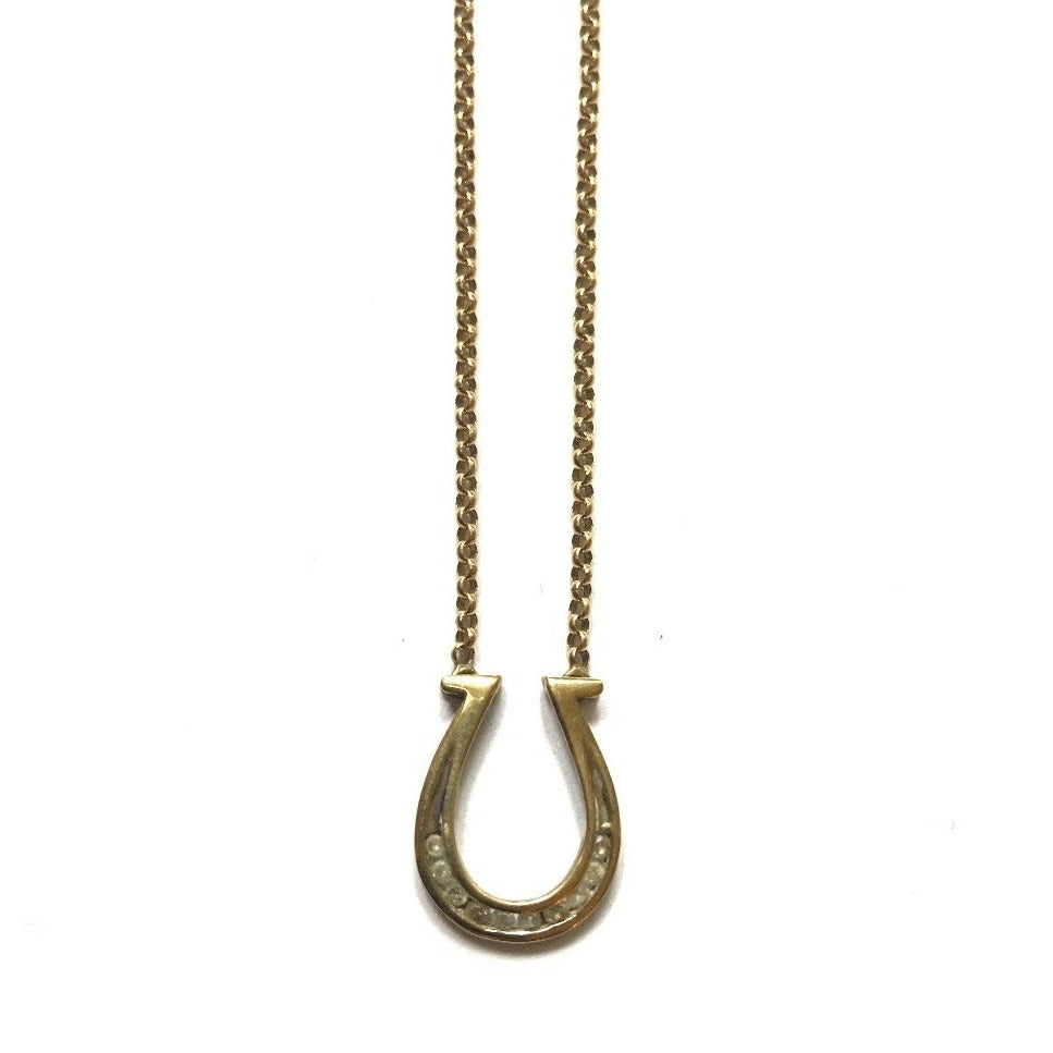Antique Gold and Diamond Lucky Horseshoe Necklace