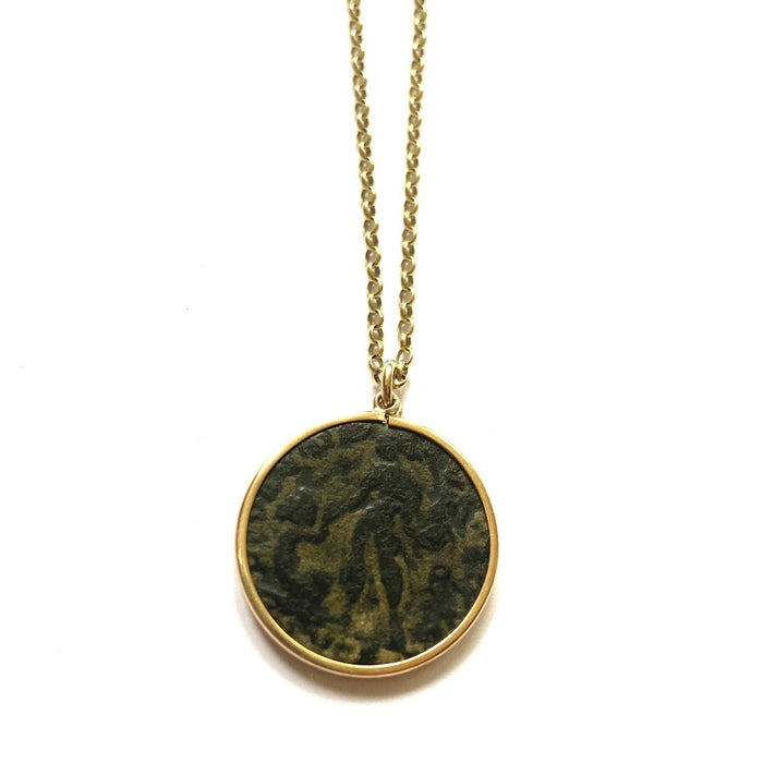 9ct Gold circular Mounted Roman Coin and Belcher Chain Necklace