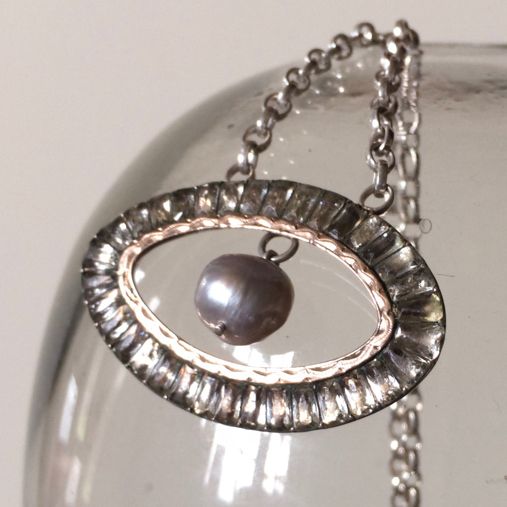 Georgian rose gold & silver belt buckle necklace pearl third eye