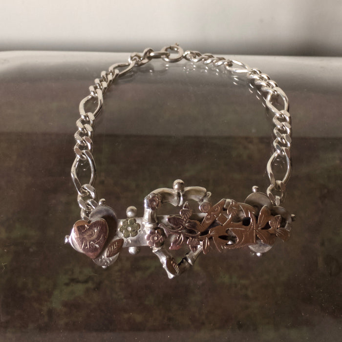 Victorian Rose Gold and Silver Love heart Bracelet.