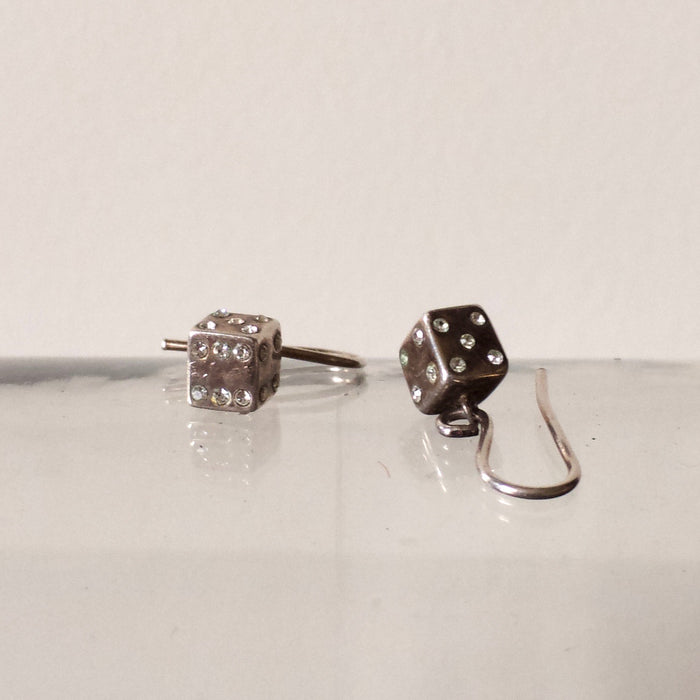 Silver Dice Vintage Earrings