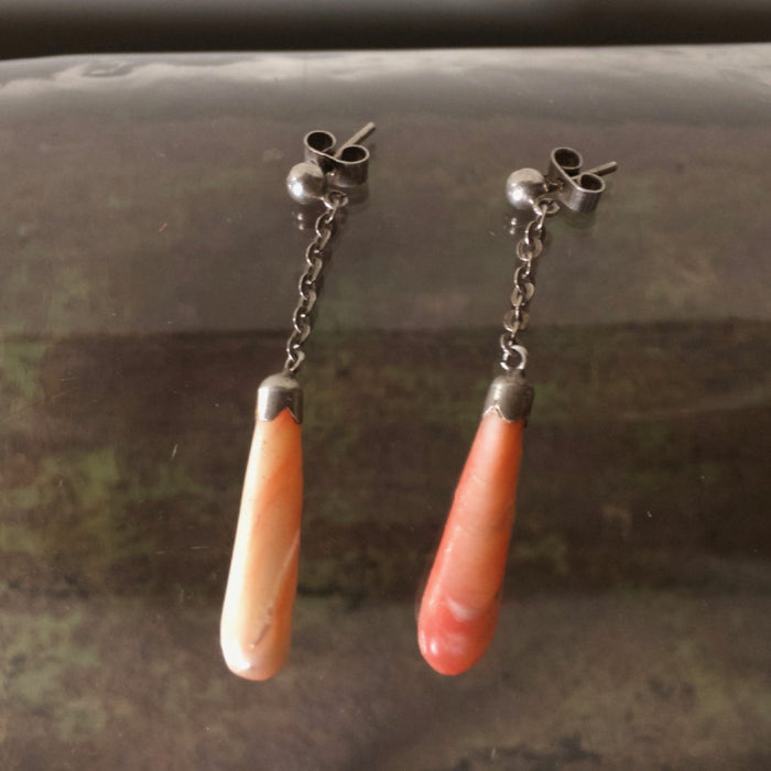 Angel Skin Coral & Silver drop earrings