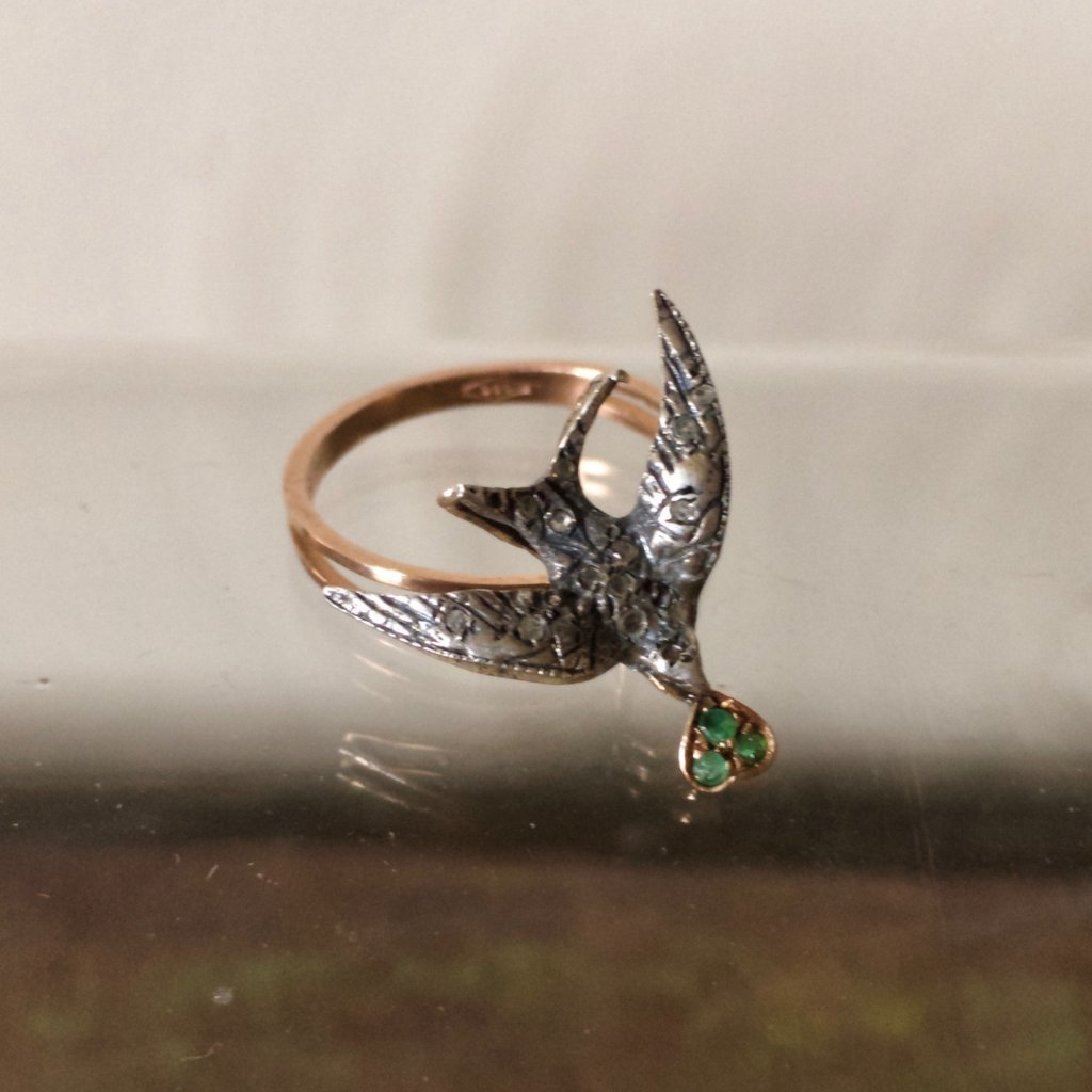 Gold Swallow Diamond and Emerald Ring  1920's