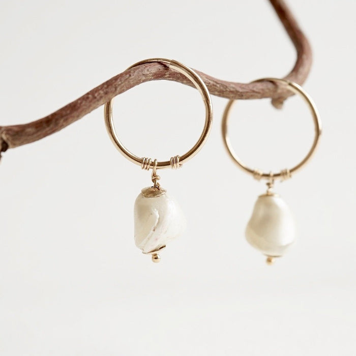 Baroque Pearl & Gold Creole Hoops