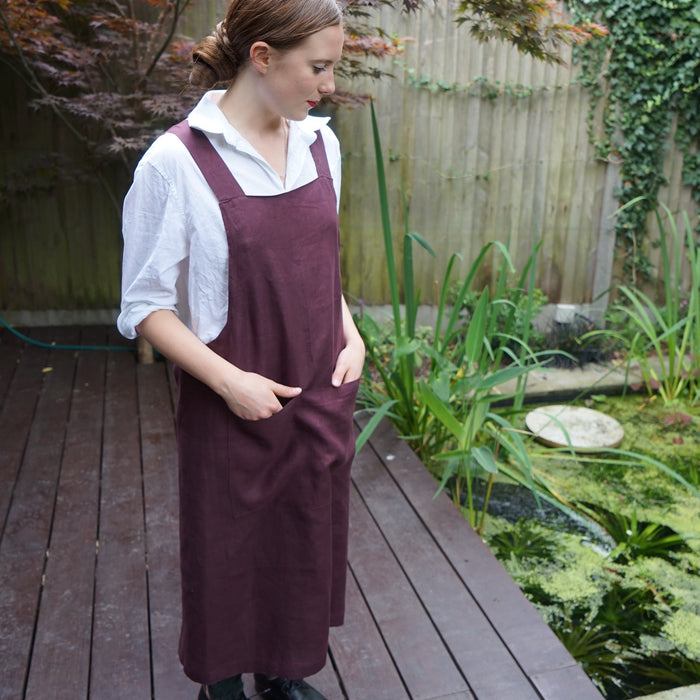 Crossover back linen Apron. Handmade UK. Burgundy