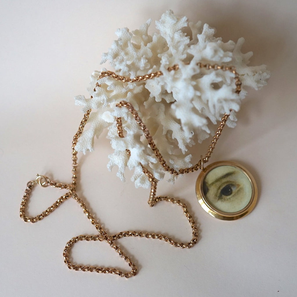 Gold Lover's Eye Locket and Long Guard Chain Necklace Badger's Velvet