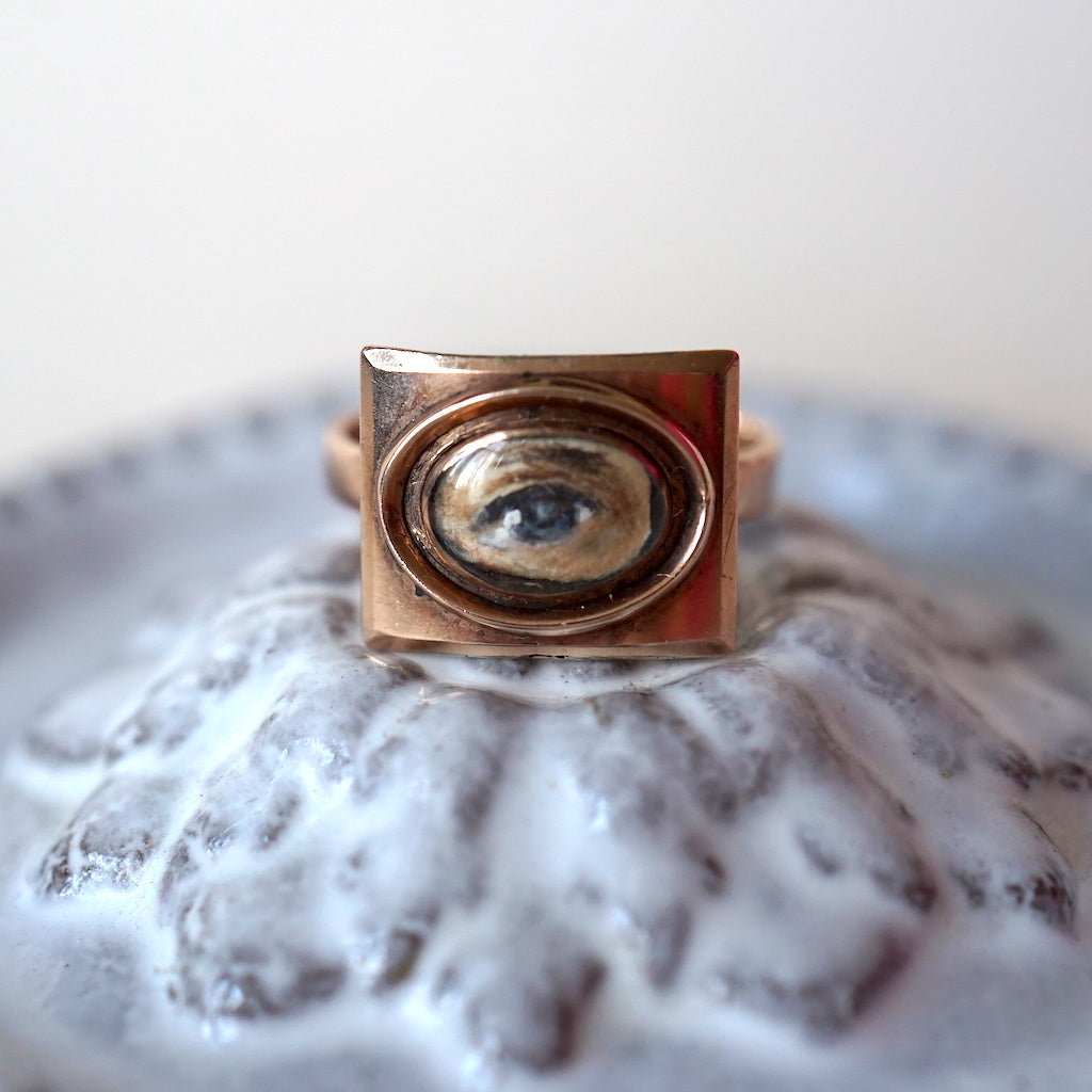Georgian Original Antique Gold Lover's Eye Ring