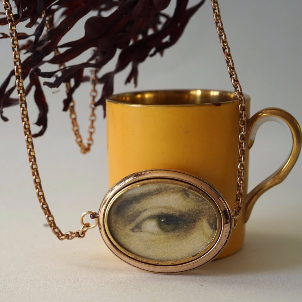 Gold Lover's Eye Double Sided Locket and Belcher Chain Necklace