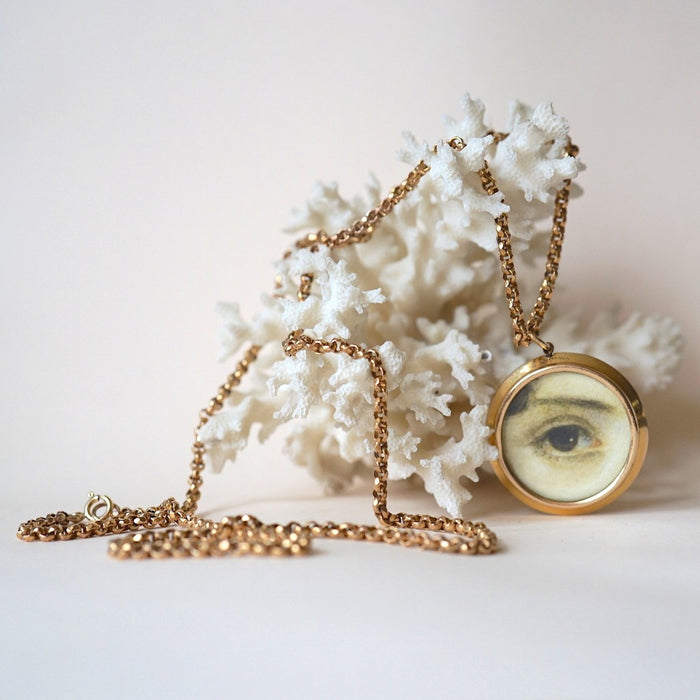 Gold Lover's Eye Locket and Long Guard Chain Necklace