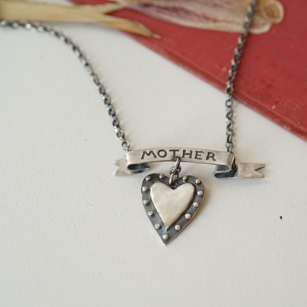 Handmade Oxidised Silver Mother Tattoo Necklace