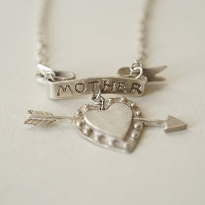 Handmade Polished Silver Mother Necklace