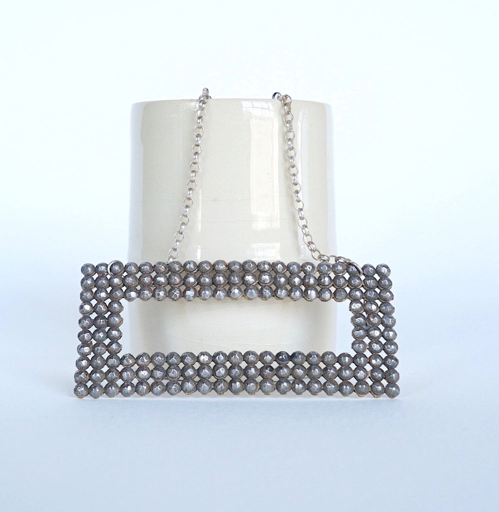 Georgian Oblong Cut Steel Buckle Silver Necklace