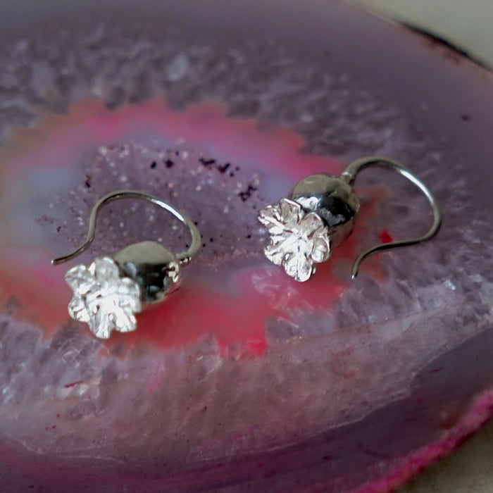 Poppy Head Silver Earrings Badger's Velvet