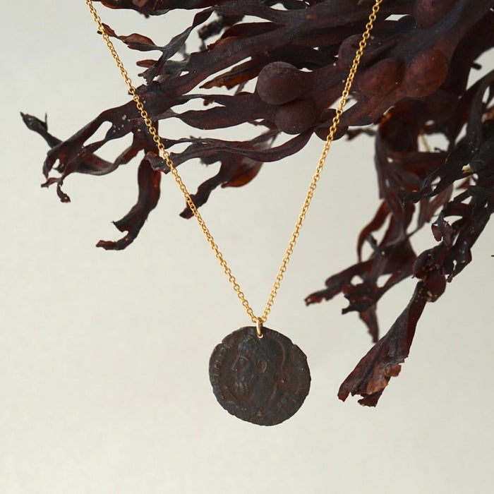 Roman Coin and Fine Belcher Chain Necklace