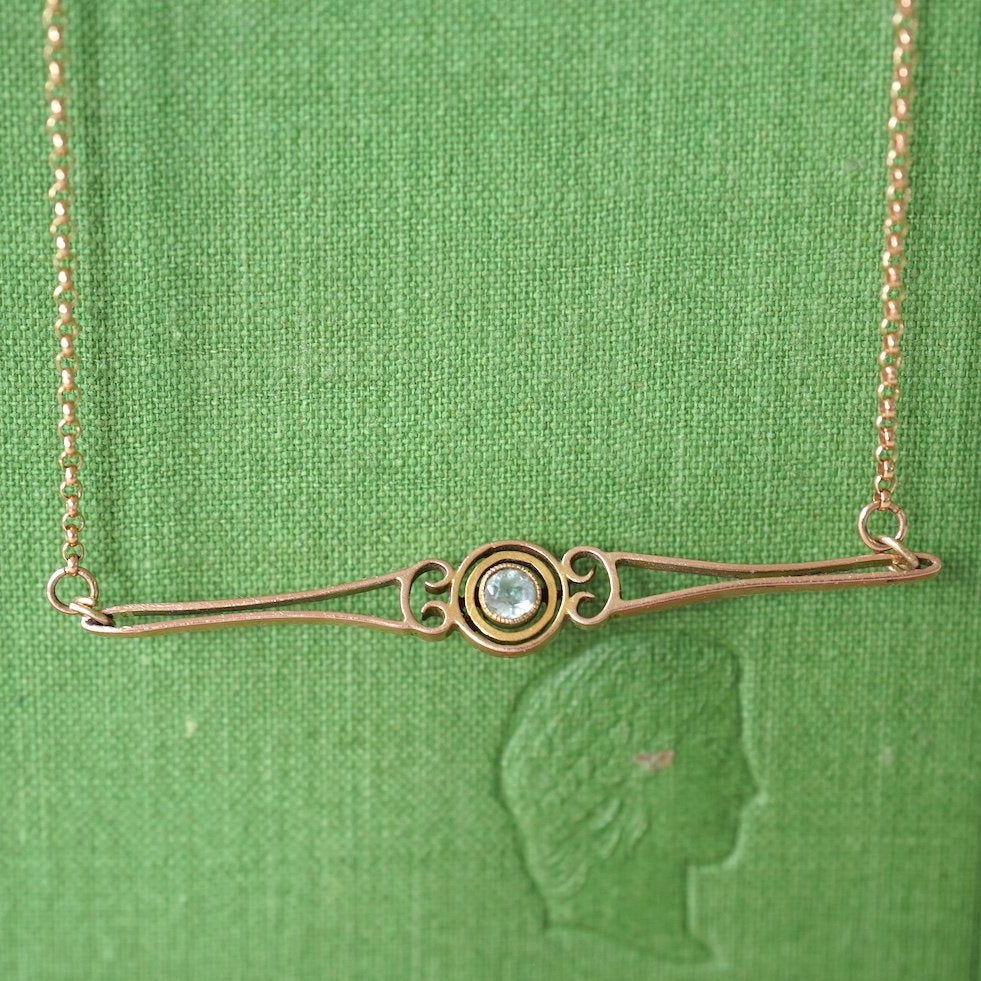 Gold and Sapphire Bar Necklace.  Badger's Velvet