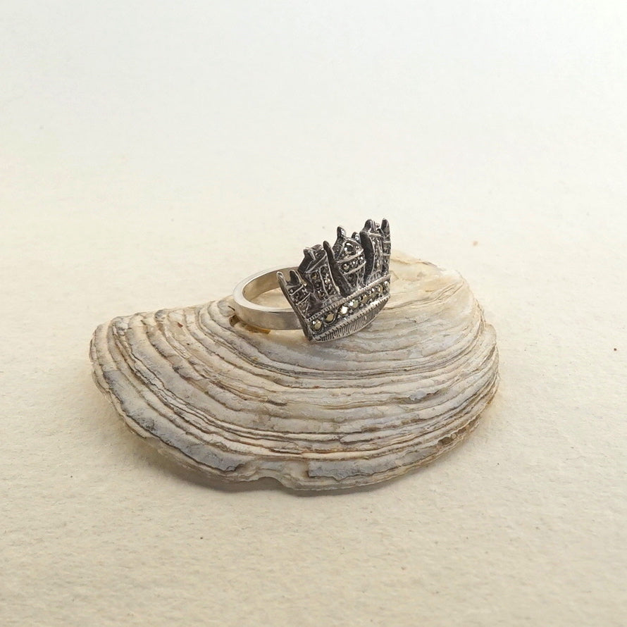Vintage Silver Marcasite Crown Ring