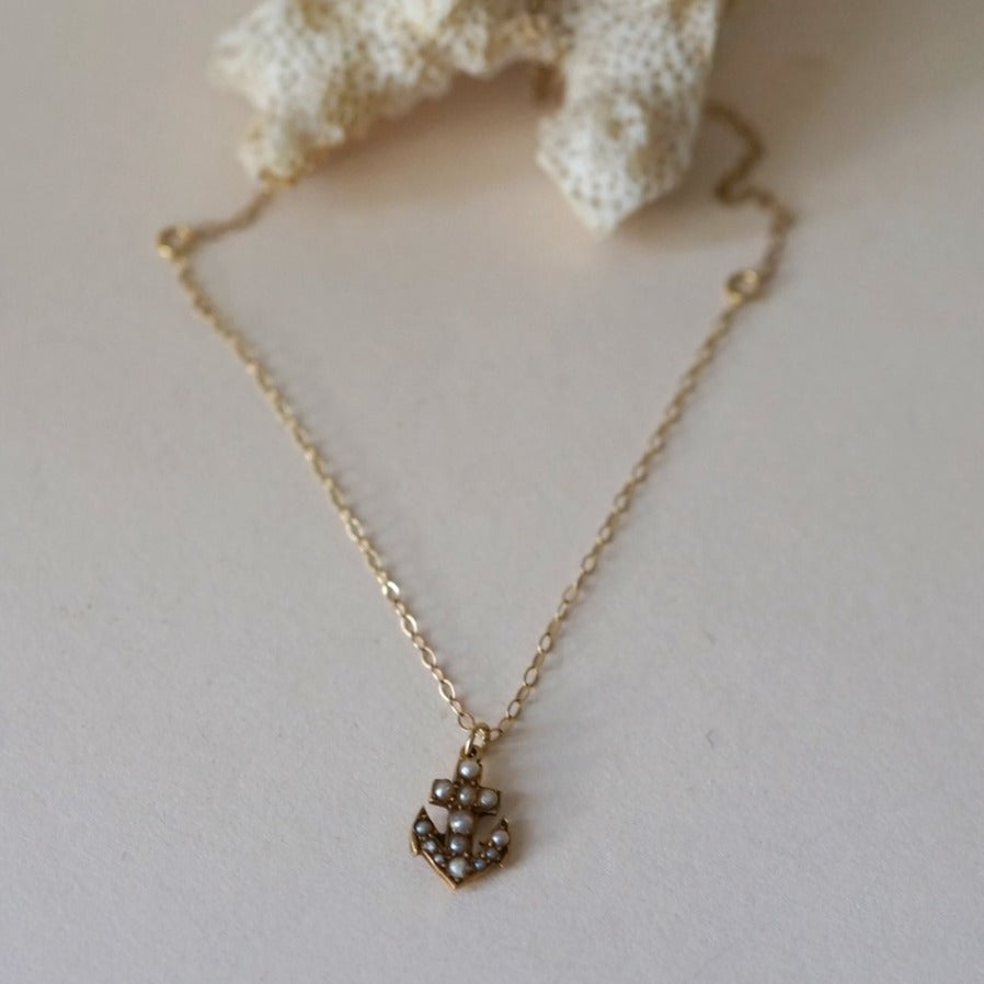 9ct Gold Seed Pearl Anchor Necklace