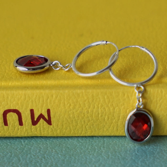 Silver Creole hoop Earrings with Garnet zirconia drop