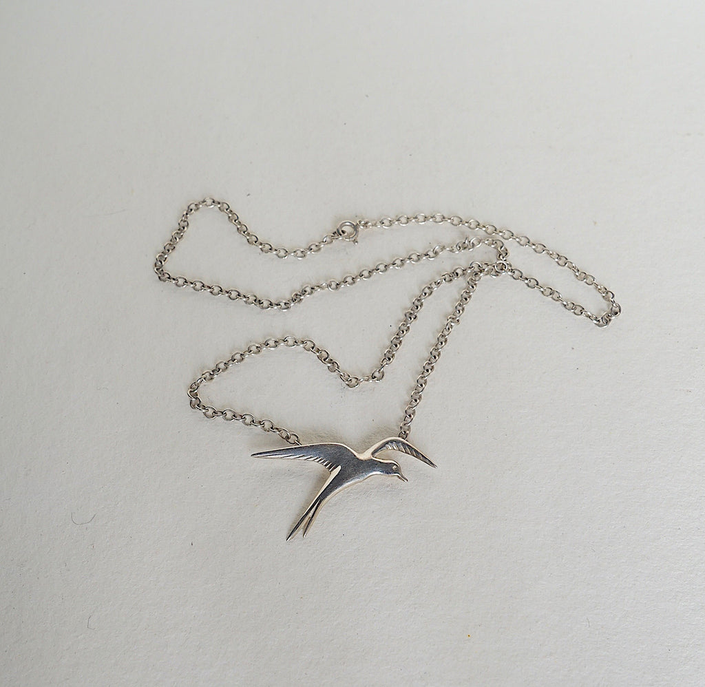 Silver Swallow Necklace Badger's Velvet