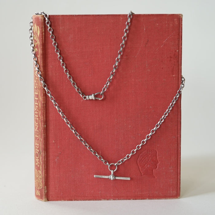 Oxidised Silver Pocket Watch Chain and T. Bar Necklace