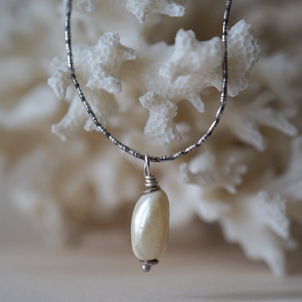 Baroque Pearl & Indian Silver Necklace Badger's Velvet