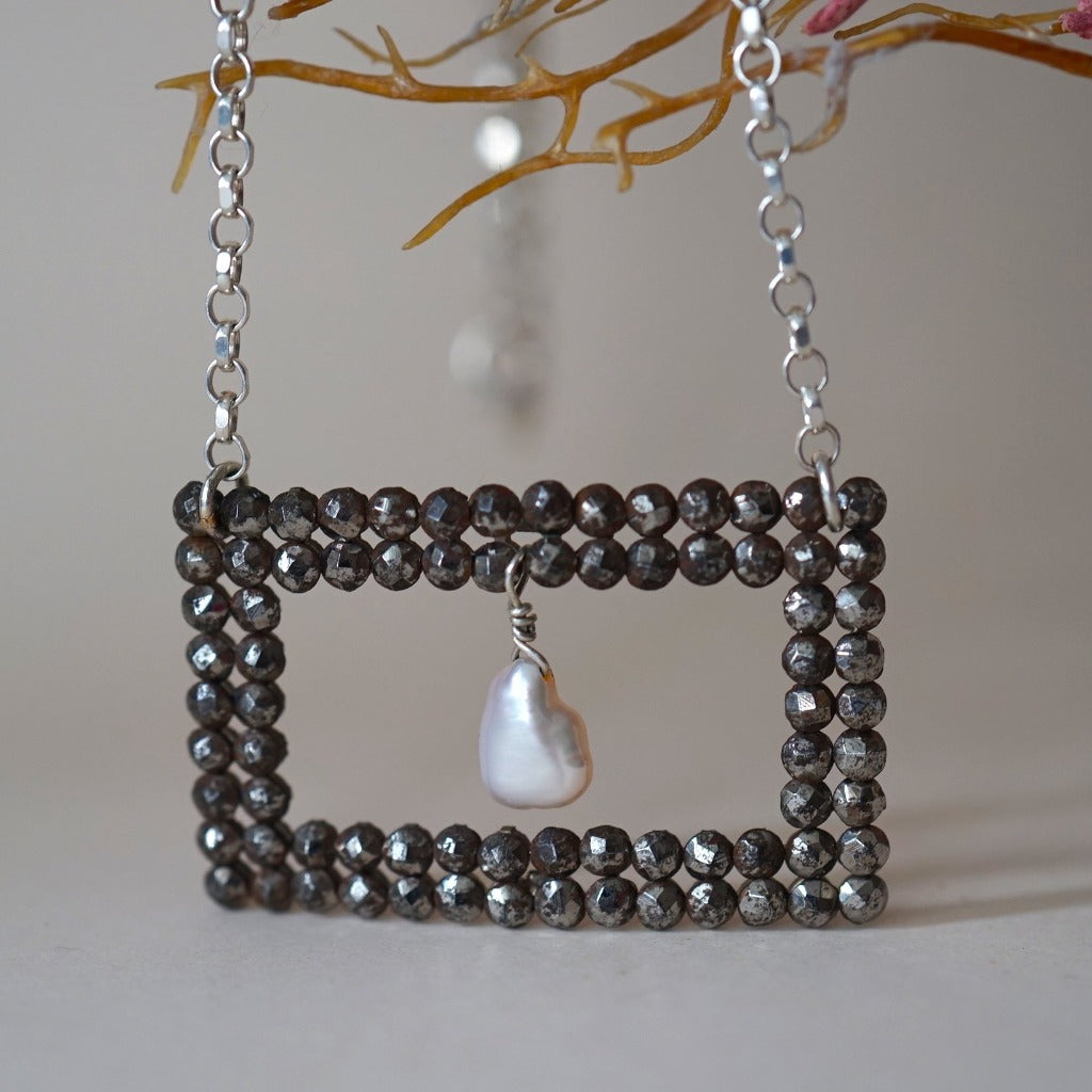 Georgian Cut Steel Square Eye Buckle and Pearl Silver Necklace.