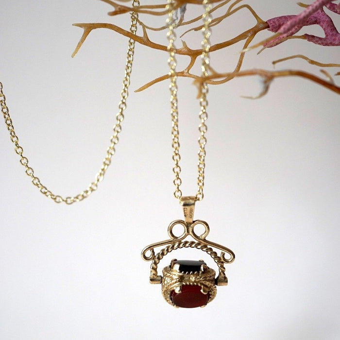 Gold Swivel Fob Stone Necklace