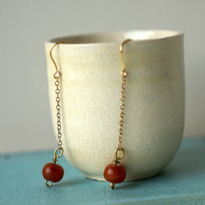 Antique Carnelian beads & gold chain earrings, gold earrings, gold & carnelian earrings, antique earrings, Badger's Velvet