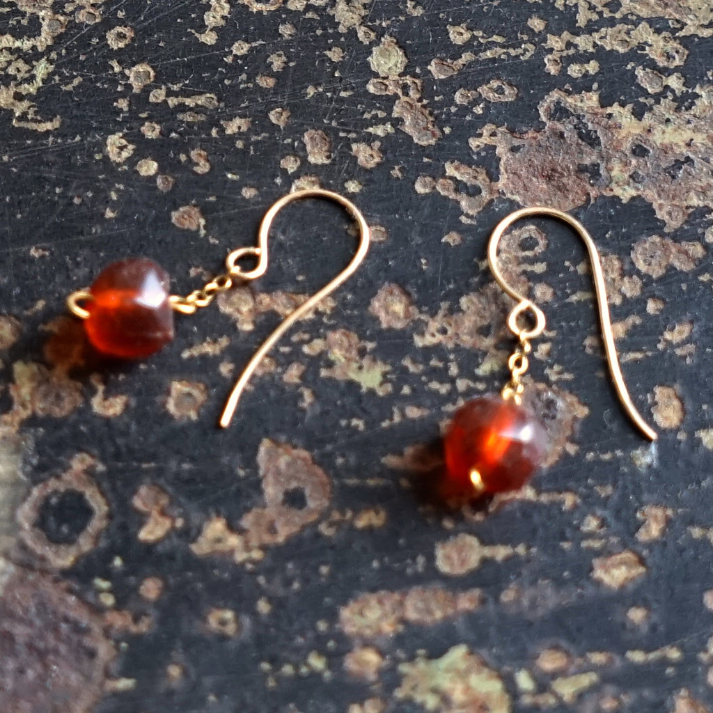 9ct Gold & Antique Amber Bead earrings, UK