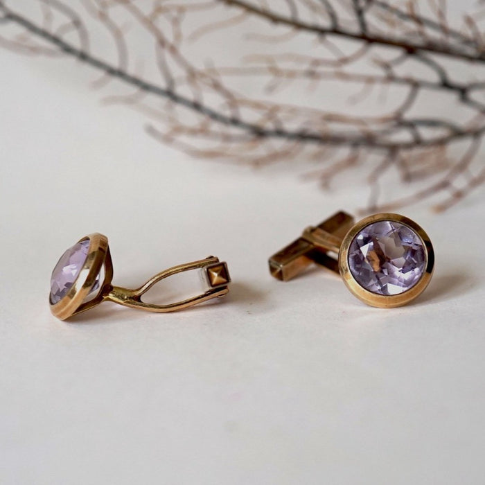9ct Gold and Amethyst Vintage Cufflinks. Badger's Velvet