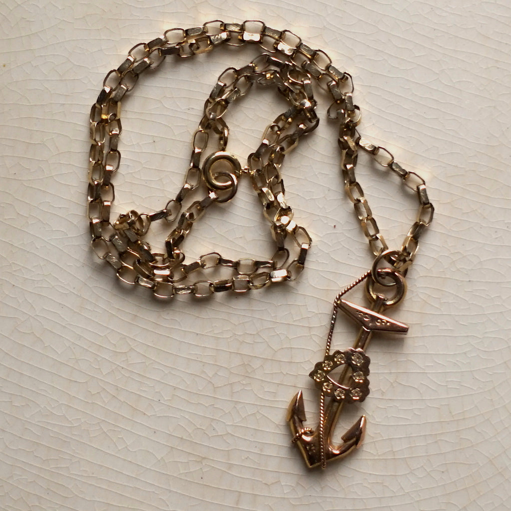 Antique gold anchor and belcher chain, vintage, remade jewellery, antique jewellery