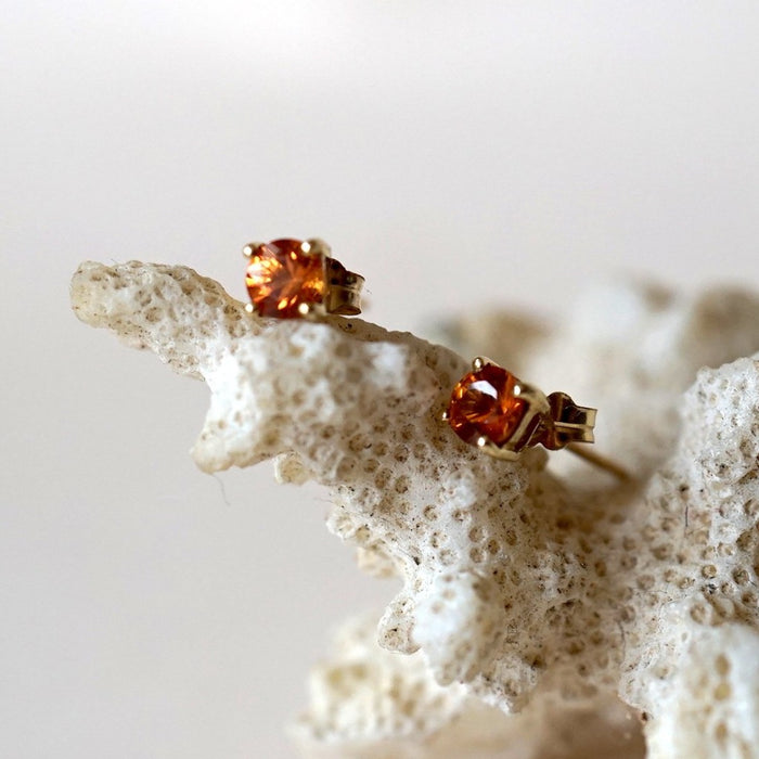 Gold Citrine stud Earring. Badger's Velvet