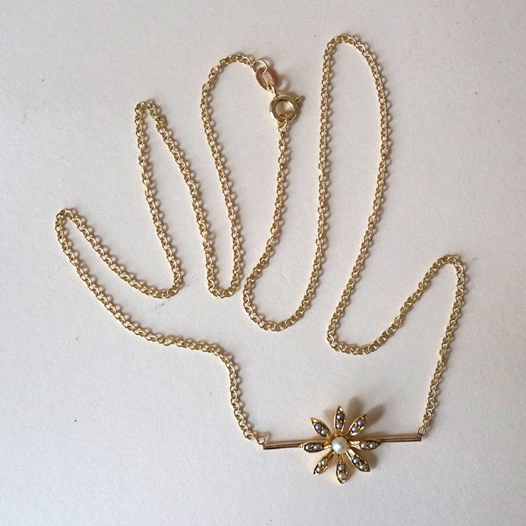 14ct Gold Seed Pearl Daisy Bar Necklace