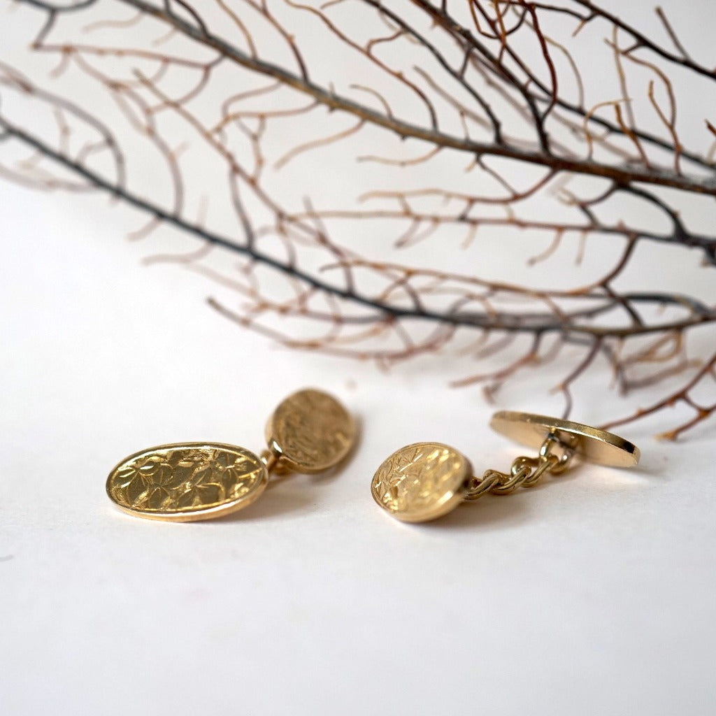 Victorian Gold etched Cufflinks