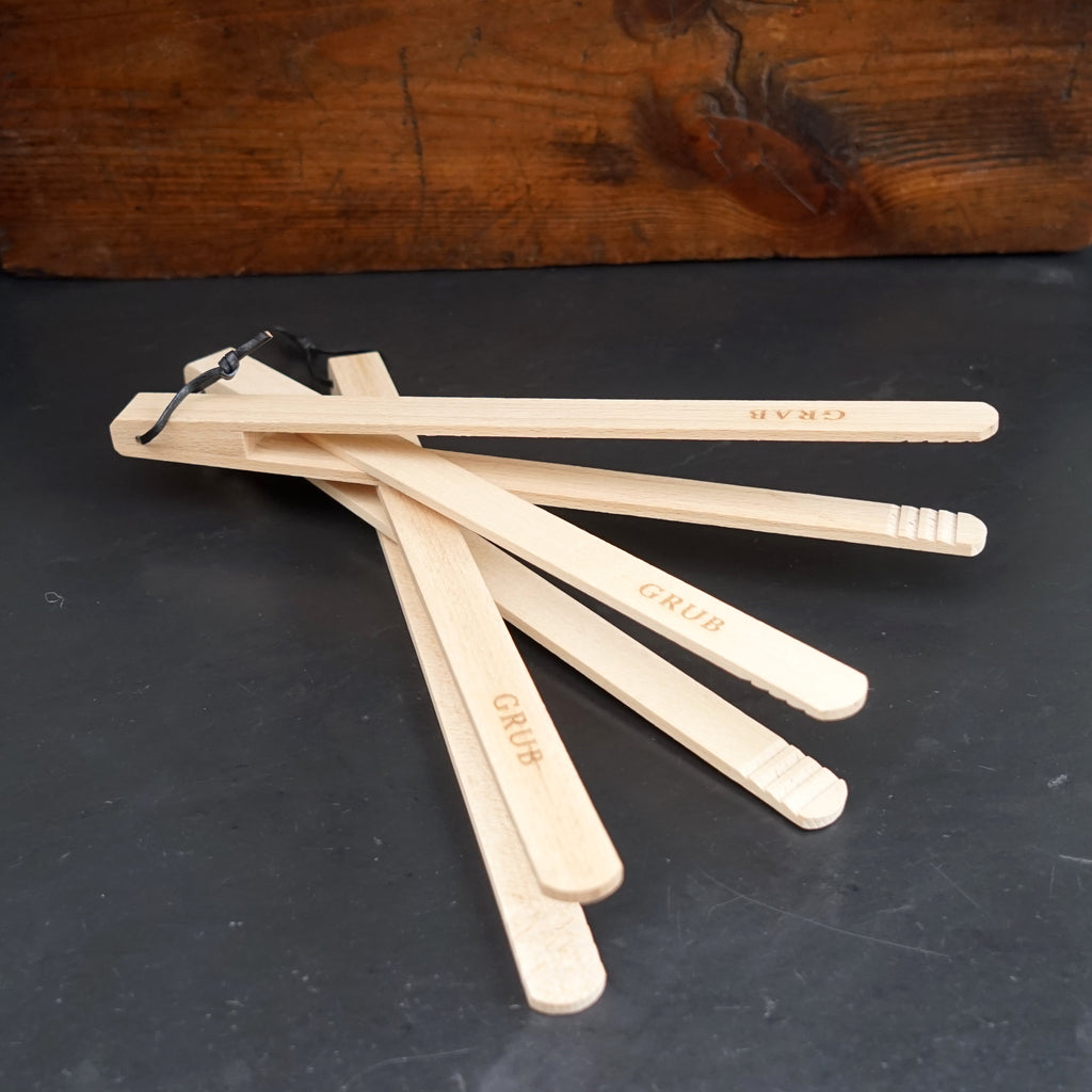 Wooden Tongs for toaster, frying pan, griddle or BBQ