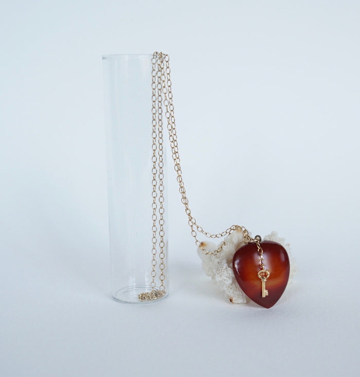 Vintage Carnelian and Gold 'Key to my Heart' Pendant.