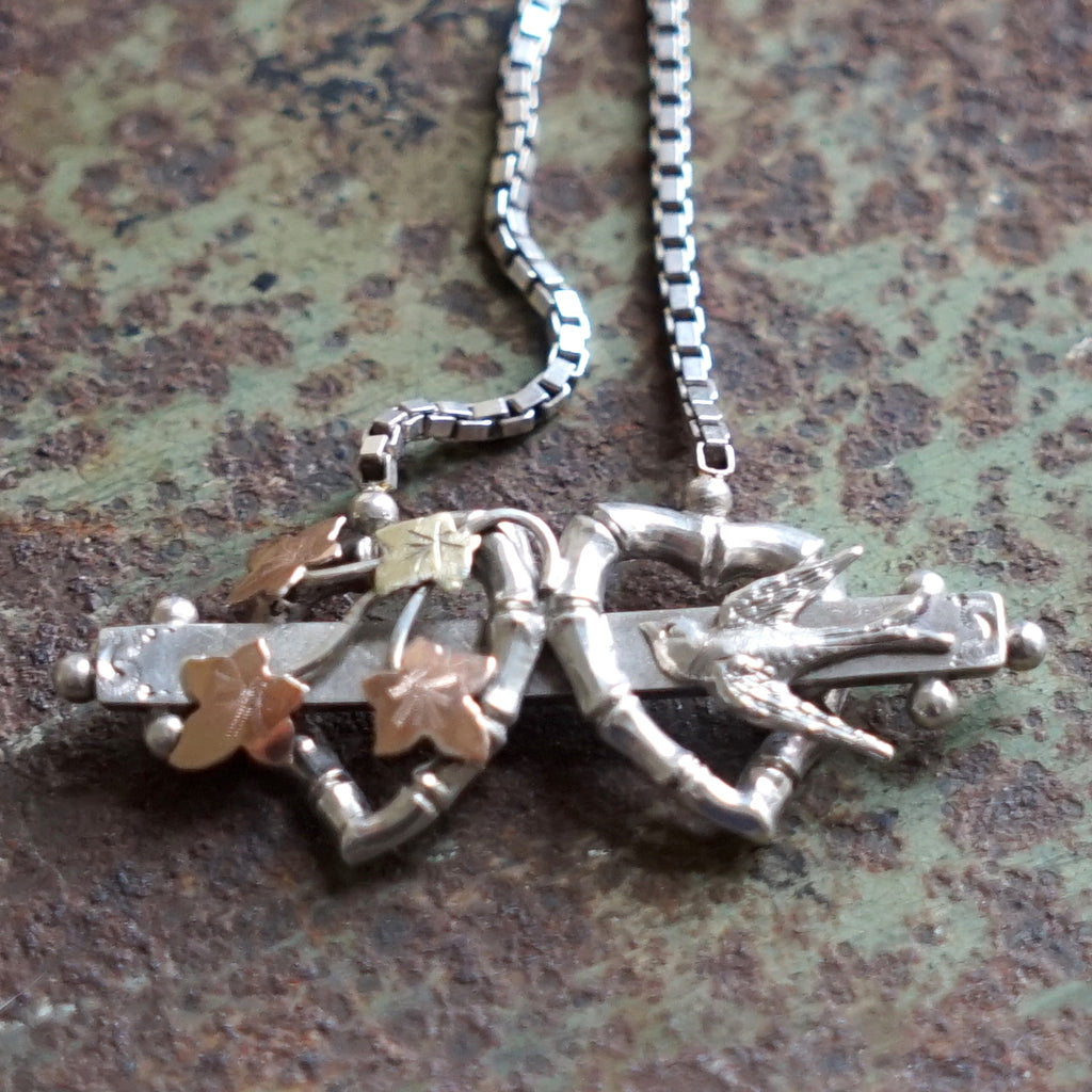 Hearts Ivy & Swallow Edwardian Silver & Gold Necklace.