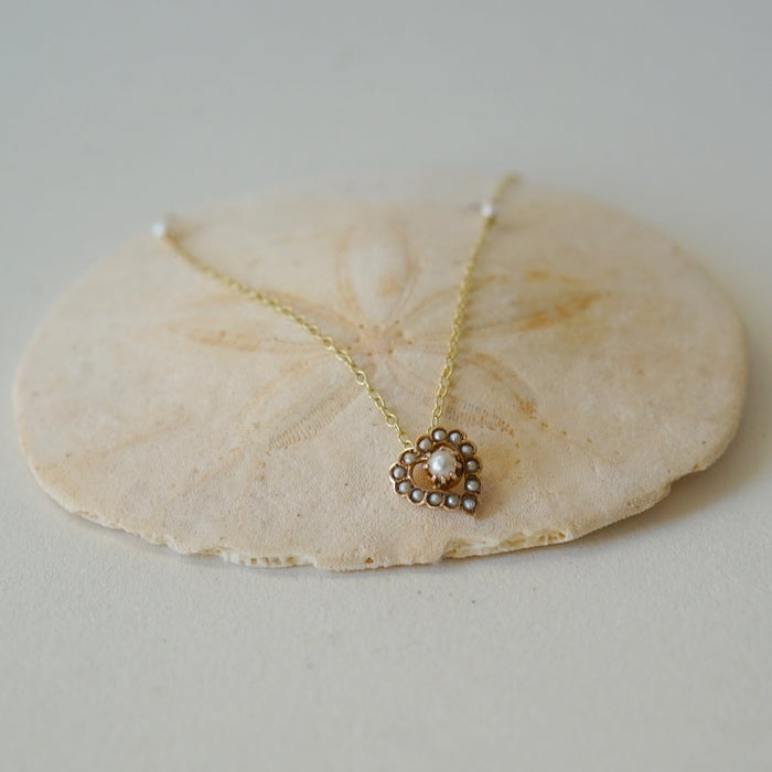 18ct Gold and Seed Pearl Heart and Gold Chain Pendant. Badger's Velvet