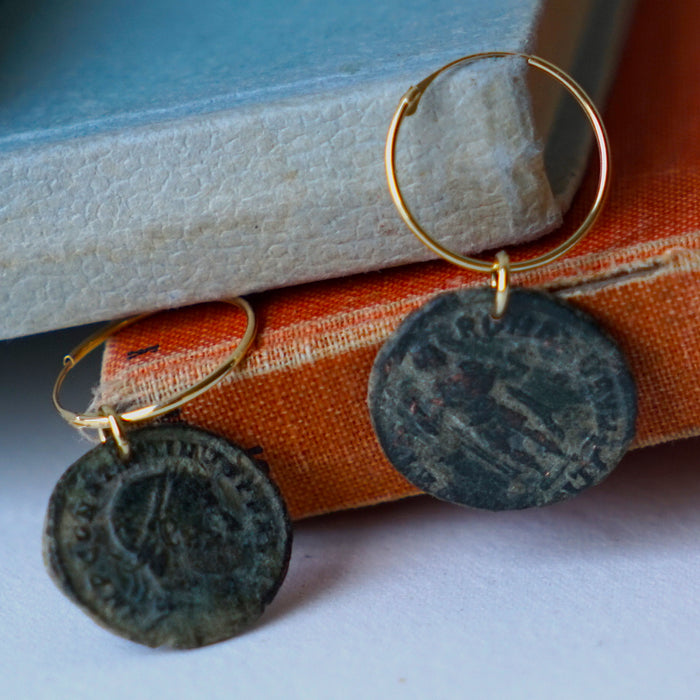 Roman Coin & Gold hoop earrings