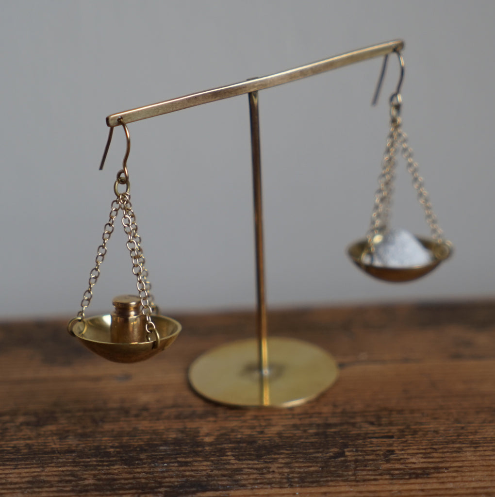 Gold Weights and Measure Earrings