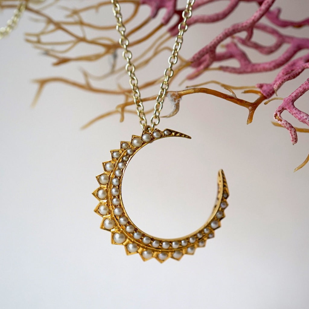 Edwardian 9ct Gold and Seed Pearl Crescent Moon Pendant. Badger's Velvet