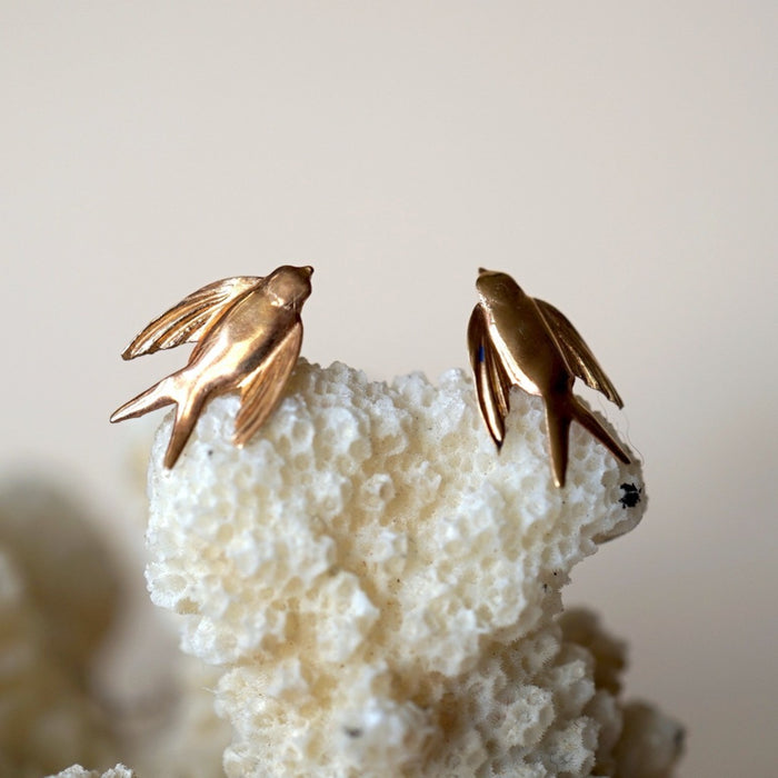 9ct Gold Swallow earrings. Badgers Velvet