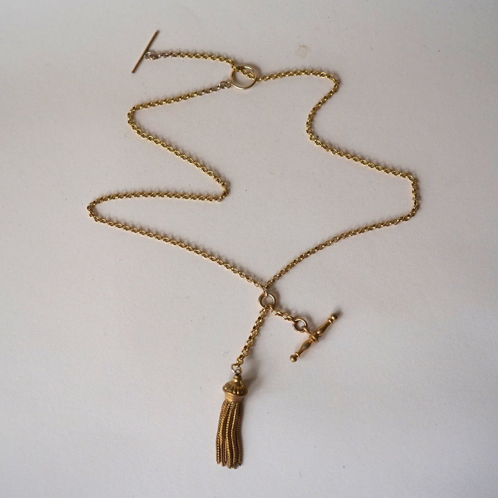 Gold Tassle and T Bar Albertina Necklace