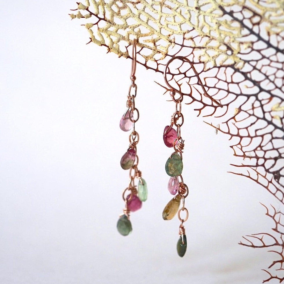 Tourmaline and  Rose Gold Chain Hook Earrings