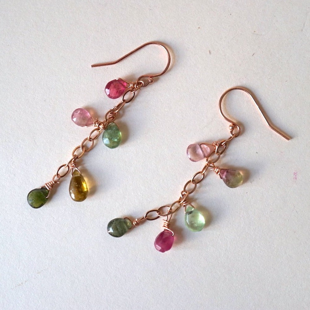 Tourmaline and  Rose Gold Chain Hook Earrings. Badger's Velvet