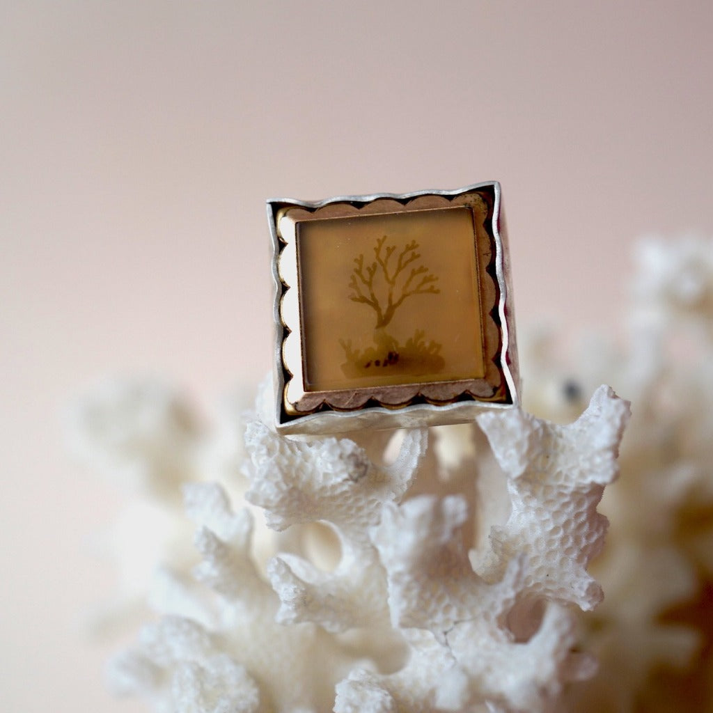 Gold and Silver Victorian Moss Agate Ring