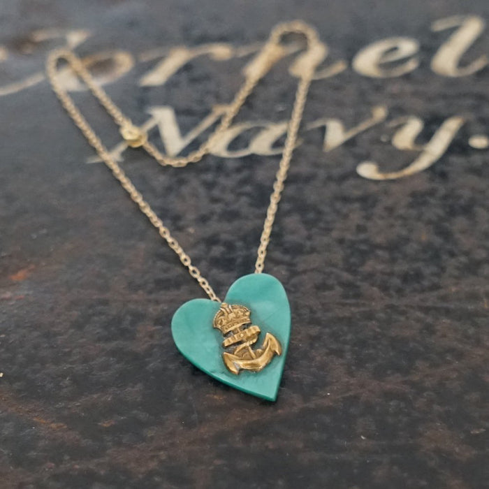 Trench Art Heart and Naval Anchor necklace